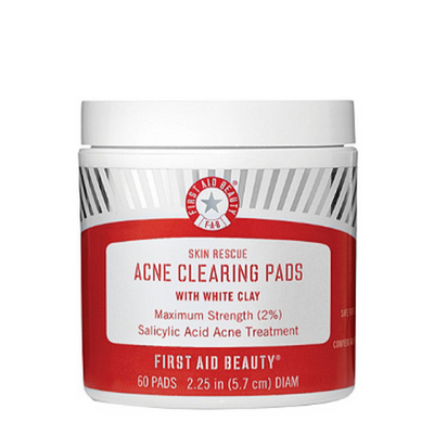 FIRST AID BEAUTY | Skin Rescue Acne Clearing Pads with White Clay - 25% off with code MAMINA