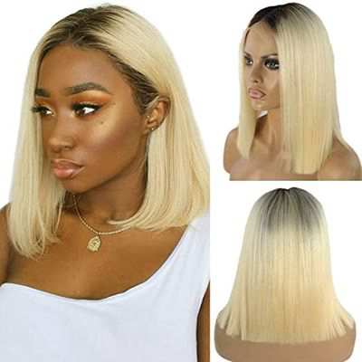 Rooted Blonde Human Hair Wig (Bob Length)