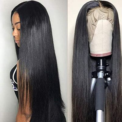 "Silky Straight 20"" Human Hair Lace Front Wig, Pre Plucked"