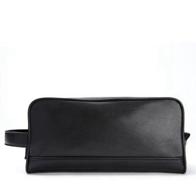 LEATHEROLOGY | Double Zip Toiletry Bag - Black Onyx