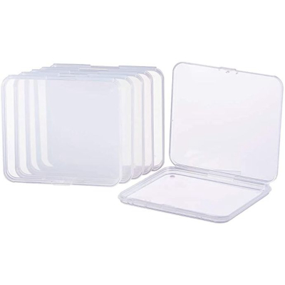 Benecreat 6 Pack 4.9x4.4x0.43 Inches Rectangle Clear Plastic Bead Storage Containers Box Drawer Organizers With Lid